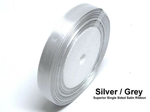 Argent//gris 6mm ruban satin simple face mariage ruban artisanat garniture