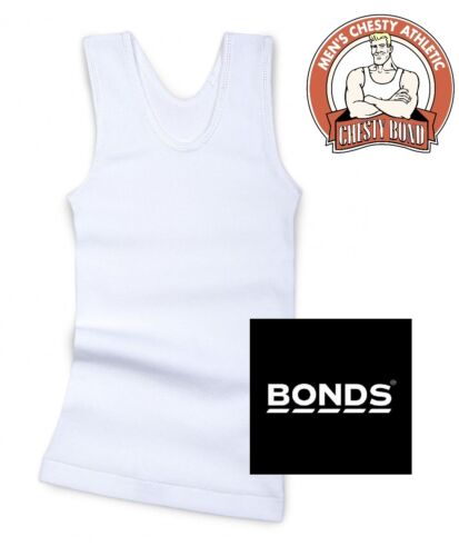 1 x BONDS BOYS WHITE CHESTY Cotton Singlet Underwear Tank Kids Tee Top Clothing