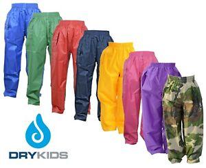 DRY-KIDS-Waterproof-Over-Trousers-Rain-Children-Boys-amp-Girls-Childs-age-2-13