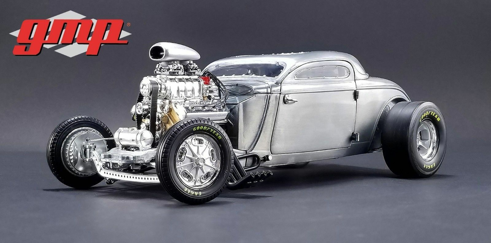1 18 Gmp  18800 - 1934 Blown Alterouge Coupé Raw Steel Southern Vitesse & Marine