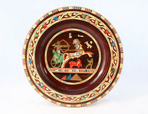 Egyptian-Inlaid-Wooden-Art-Wall-Plate-Marquetry-25cm-Ancient-Egypt-Theme-Vintage