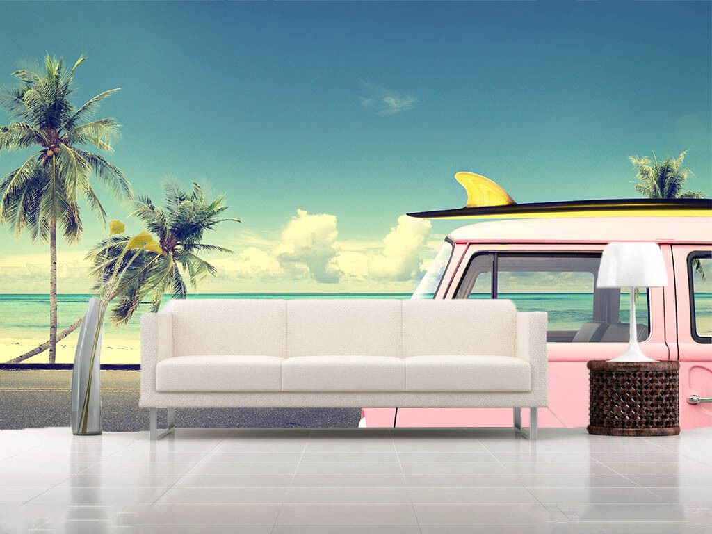 3D Beach, pink auto 0453 Fototapeten Wandbild Fototapete BildTapete Familie DE