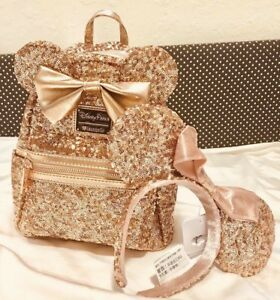 38eacc2ed52 Image is loading Disney-Parks-Disneyland-Rose-Gold-Exclusive-Loungefly- Backpack-