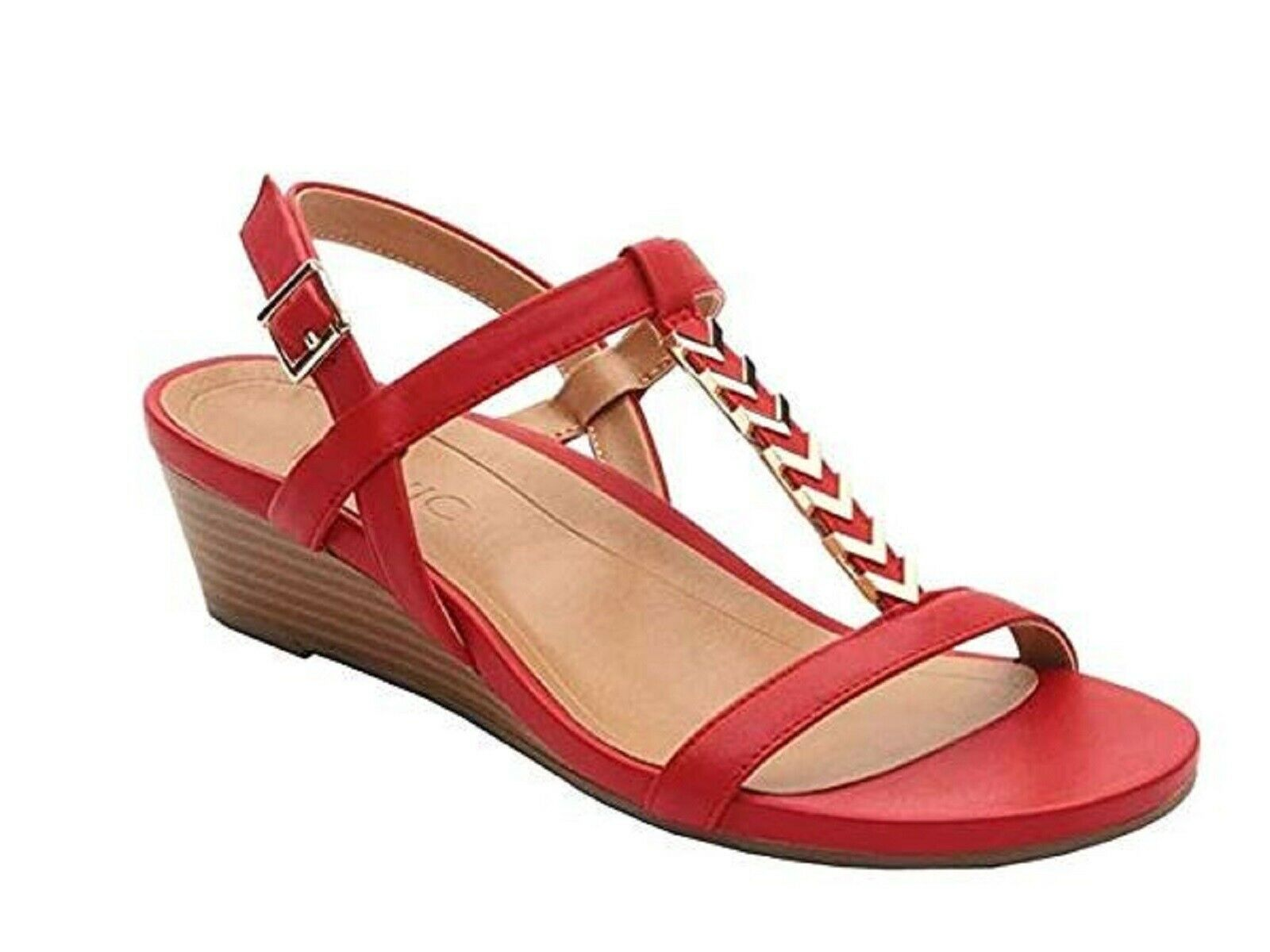 Vionic Orhaheel PORT CALI Leather Open Toe Ankle Strap Sandals RED Size 11 W NIB