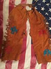 vtg Genuine Leather kids Chaps Cowboy Indian Native American Handmade Western!!!