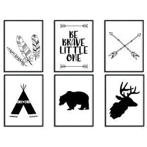 tribe bear arrow cartoon canvas poster nursery quote wall art nordic