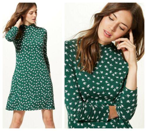 ex M/&S Floral Print Swing Jersey Casual Versatile Dress