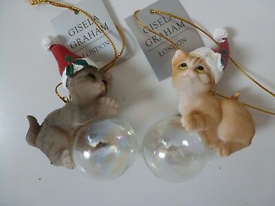 Gisela Graham Cute Grey Kitten Cat on Bubble Christmas Tree Decoration  8.5cm