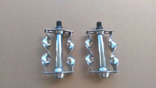 """FLAT TWISTED LOWRIDER BICYCLE PAIR OF PEDALS 1//2/"""" CHROME"""