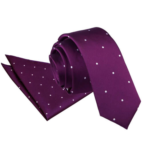 DQT Woven Pin Dot Casual Formal Classic Skinny Mens Tie /& Handkerchief Hanky Set
