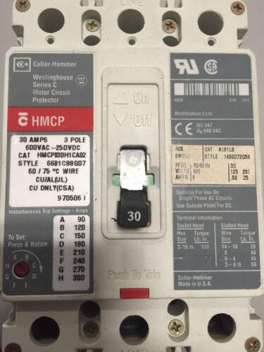Cutler Hammer HMCP030H1CA02 Circuit Breaker 30A 600VAC-250VDC c//w auxilary