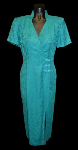 Maggy London Vintage 80s 90s Turquoise Blue Asian