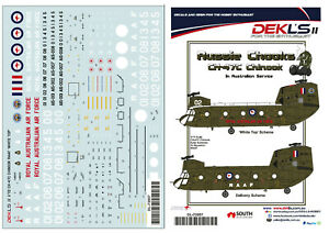1-72-CH-47C-Chinook-RAAF-Early-039-White-Top-039-and-Olive-Schemes-Decal-DEKL-039-s-II