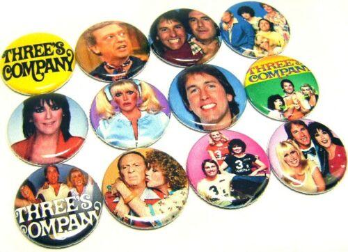 "12 THREES COMPANY Pinbacks Buttons 1/"" Pins 80s TV Sitcom Jack Janet Furley Roper"