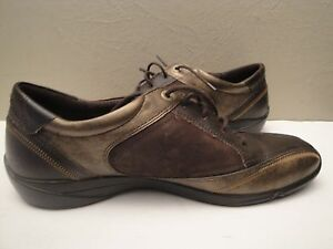 Image is loading ECCO-Brown-Metallic-Suede-Leather-Lace-up-Casual-
