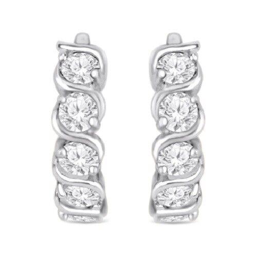 Round D//VVS1 Huggie Hoop Earrings 14K White Gold Over 925 Sterling Silver