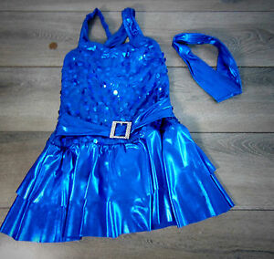 A-Wish-Come-True-Girls-JAZZ-DANCE-SHOW-COSTUME-More-Blue-Sequin-Dress-ISC-6x-7