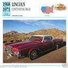 LINCOLN CONTINENTAL MK III 1968 1971 CAR VOITURE USA ETATS-UNIS CARTE CARD FICHE
