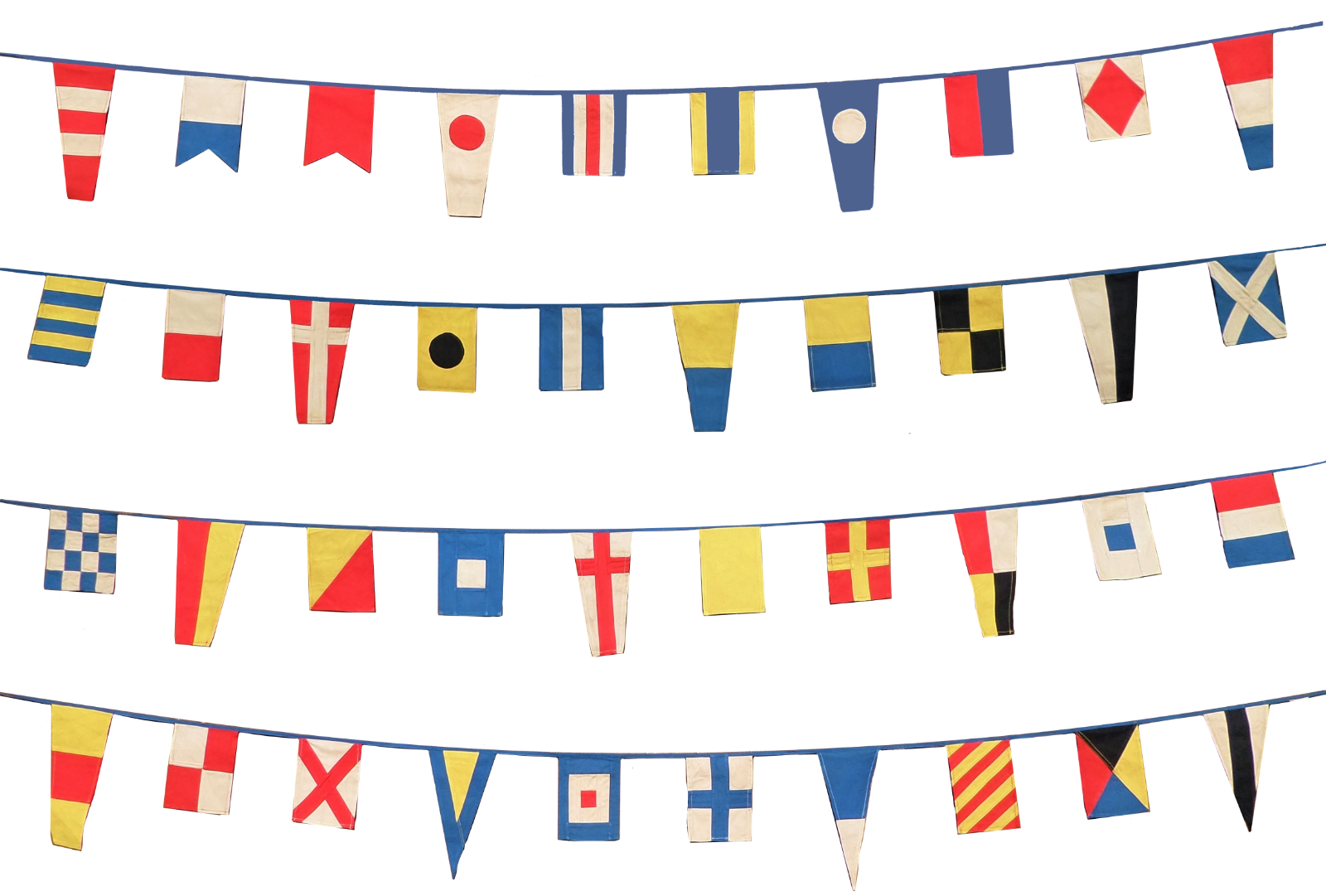 Nautical Signal Bunting 40 Flag, Fully Sewn Cotton Aged & Vintage-Look Set