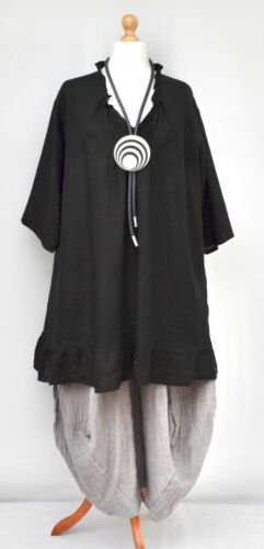 "PLUS SIZE LINEN OVERSIZED A-LINE LONG TUNIC//TOP*BLACK*BUST UP TO 56/"" XL-XXL-XXXL"