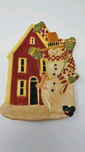 SUSAN-WINGET-CERTIFIED-INTL-Snowman-plate-Christmas-holiday