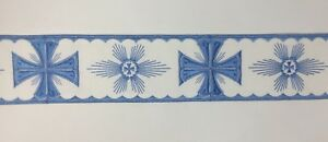 Orphrey-Vintage-Cruz-Azul-Encendido-Blanco-Vestment-Lazo-8-9cm-Ancho-Vendido-Por