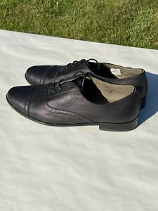 Toms-Mens-Canvas-Oxford-Shoes-Black-Wingtip-Derby-Casual-Dress-Size-9-5