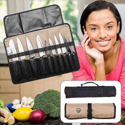 Schwarz Messertasche Rolltasche 21 Teile Küchenmesser Aufbewahrung Messerkoffer