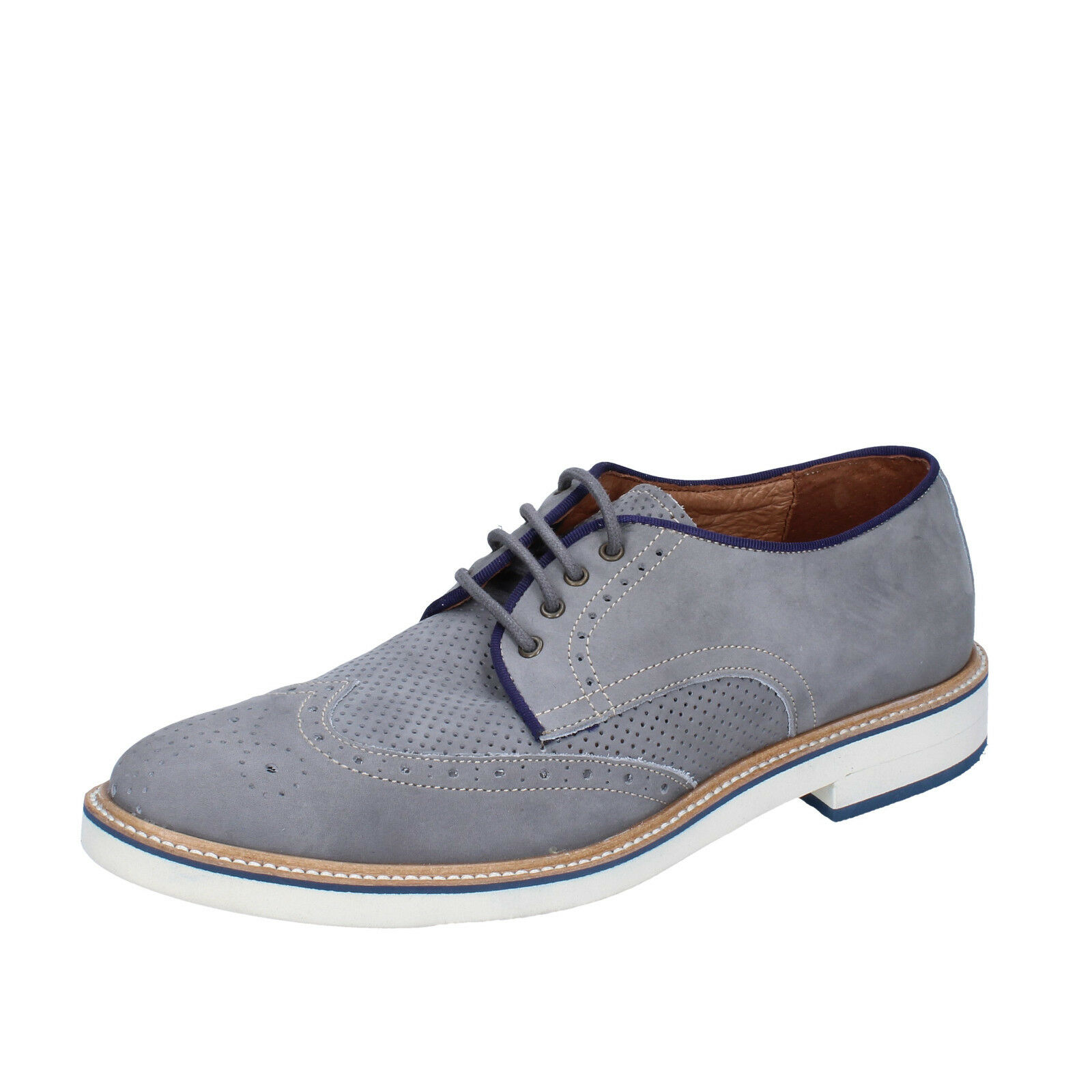 Mens shoes +2 MADE IN ITALY 8 () elegant grey nabuk BT702-42