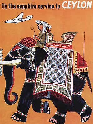 TRAVEL TOURISM SAPPHIRE CEYLON SRI LANKA ELEPHANT MAHOUT POSTER PRINT BB2868A