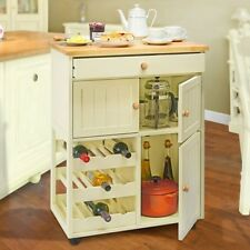 Country Kitchen Pantry Cupboard Storage Unit Island Wine Rack Wooden