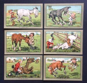 Artist-postcard-Set-of-6-Horse-Comic-cards-by-G-E-Shepheard-A97