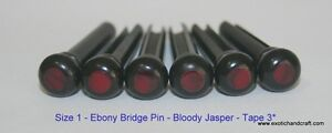 6pcs Acoustic Guitar Ebony Bridge Pins bloody jasper Size 1 tape 3* polish head