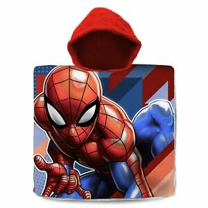 Marvel-Spiderman-Capuche-Serviette-Poncho-100-Coton-Enfants
