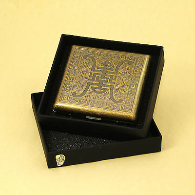 Longevity Style Brass Cigarette Case Box Hold For 20 Cigarettes With Gift Box