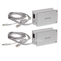 2x Netgear Powerline Internet Adapters Wireless Ethernet Over Wall Plug 85mbps