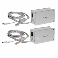 2x Netgear Powerline Internet Adapters Wireless Ethernet Over Wall Plug 85mbps