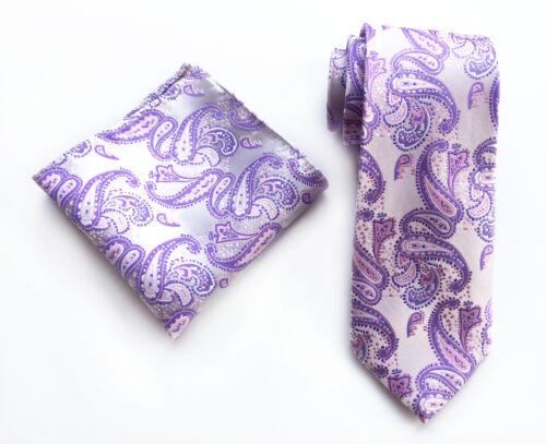 Fashion Men/'s Wedding Ties Pocket Square Set JACQUARD WOVEN Silk Paisley Necktie