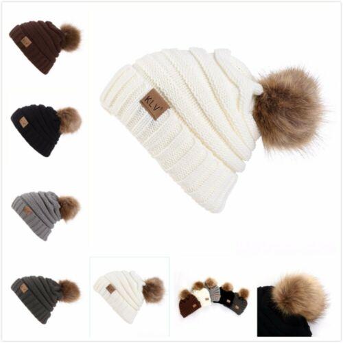 Men Women Baggy Cap Winter Warm Crochet Winter Wool Knit Beanie Plush Caps Hat