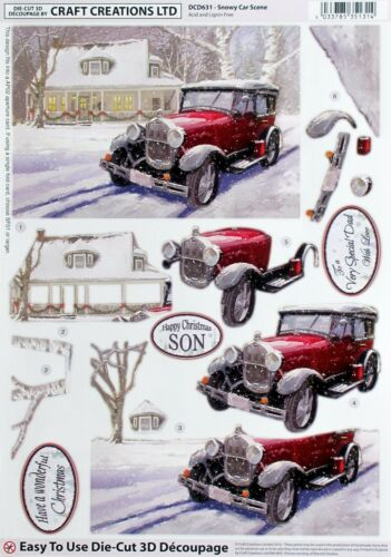 A4 DIE CUT 3D PAPER TOLE DECOUPAGE CHRISTMAS SNOWY CAR SCENE SHEET DCD631
