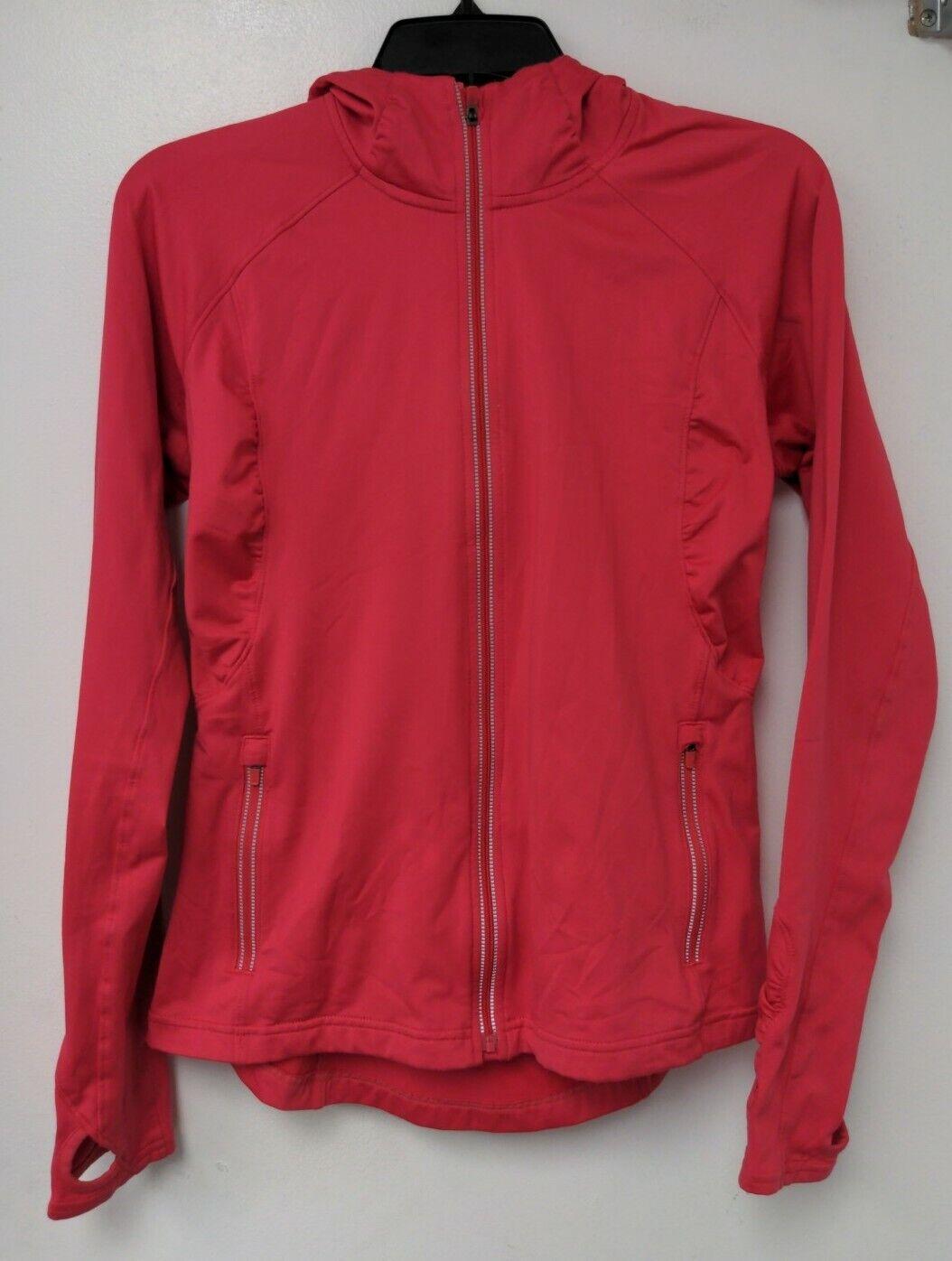 Athleta Half Mile Hoodie Pink Full Zip Thumb Hole Athletic Jacket Size Small
