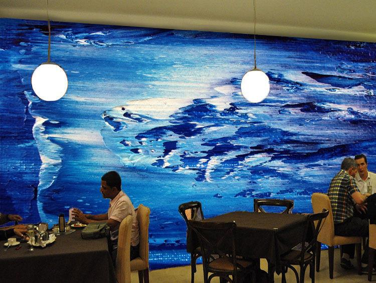 3D Blu Scuro Onda Parete Murale FotoCarta da parati immagine sfondo muro stampa