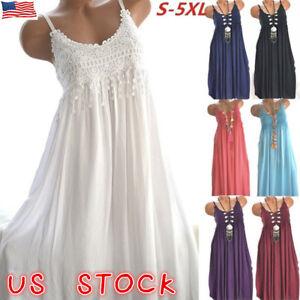 US Plus Size Womens Summer Lace Sundress Sleeveless Plain Beach Mini ...