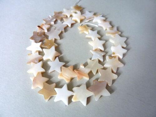 35 Stück 2402 Strang Perlmutt Stern Perle 12 mm weiß creme ca