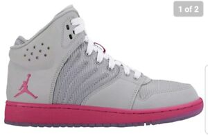 3096d308f32b5b Jordan 1 Flight 4 Girls  Grade School Wolf Grey Vivid Pink 28245061 ...