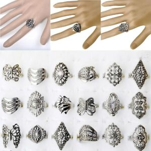 10PCS-Wholesale-Bulk-Jewelry-Lots-of-Mixed-Style-Tibet-Silver-Vintage-Rings-Gift