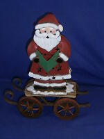 Vintage Santa Claus Metal Christmas Tealight Candle Holder By Ganz 11½in