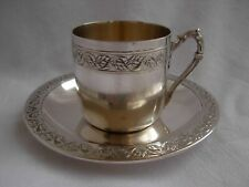 ANTIQUE FRENCH STERLING SILVER COFFEE CUP & SAUCER,LOUIS 15 STYLE,EARLY 20th.
