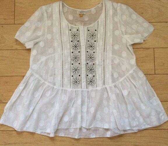Leifsdottir Cotton Serein Blouse Peplum Top Size 8 White NW ANTHROPOLOGIE Tag