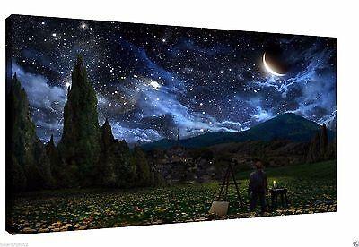 POPT017 HD Print Oil Painting Modern wall Deco Art,Van Gogh Looking At The Stars